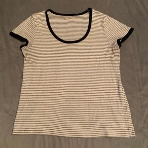 Madewell White Black Striped Top VGUC Size XL
